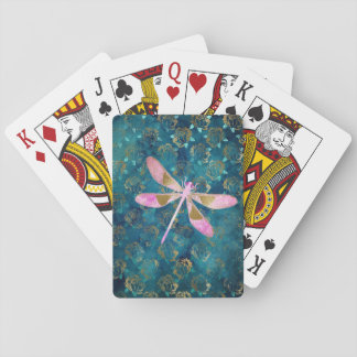 Rose Gold Dragonfly on Turquoise Floral Background Playing Cards