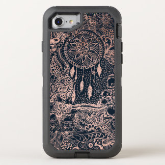 Rose gold dreamcatcher floral doodles navy blue OtterBox defender iPhone 7 case