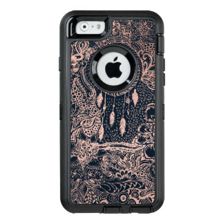 Rose gold dreamcatcher floral doodles navy blue OtterBox defender iPhone case