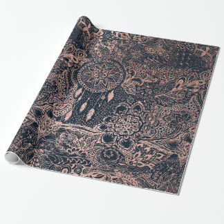 Rose gold dreamcatcher floral doodles navy blue wrapping paper
