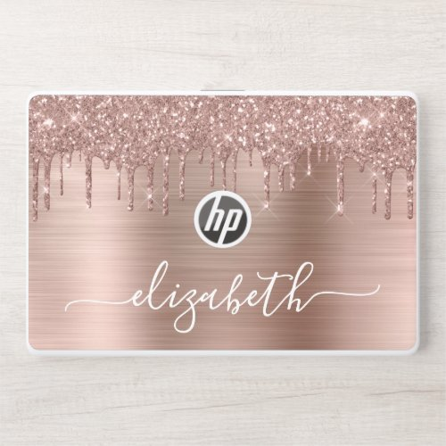 Rose Gold Dripping Glitter Personalized HP Laptop Skin