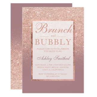 Rose gold dusty rose brunch bubbly bridal shower card