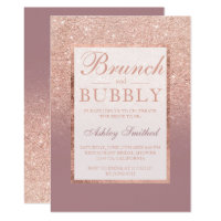 Rose gold dusty rose brunch bubbly bridal shower invitation