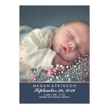 Toddler & Baby themed Rose Gold Effect Baby's Breath Baby Photo Birth Card