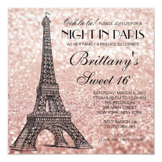 Paris Eiffel Tower Pillow 16 X 16: Rose Gold Eiffel Tower Paris Sweet 16 Invitation
