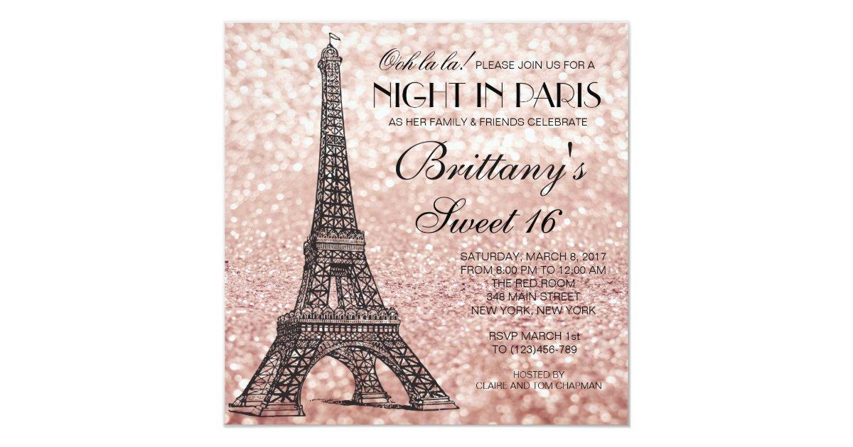 Rose Gold Eiffel Tower Paris Sweet 16 Invitation Zazzle Com