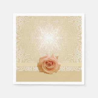 Rose Gold Elegant Lace Damask Napkins