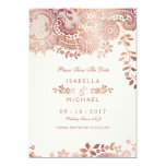 Rose gold elegant lace wedding save the date card
