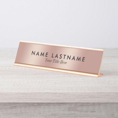 Rose Gold Elegant Minimalist Simple Modern Desk Name Plate