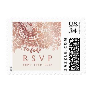 Rose gold elegant vintage lace wedding rsvp postage