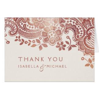 Rose gold elegant vintage lace wedding thank you card