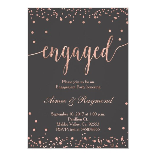 rose gold engagement party invitation zazzle com