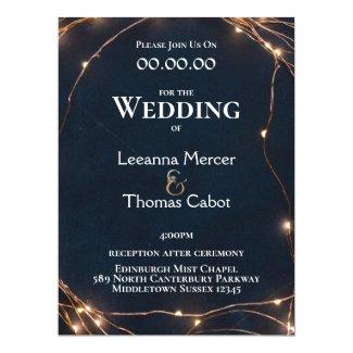Rose Gold | Fairy Lights | Modern Wedding Invitation