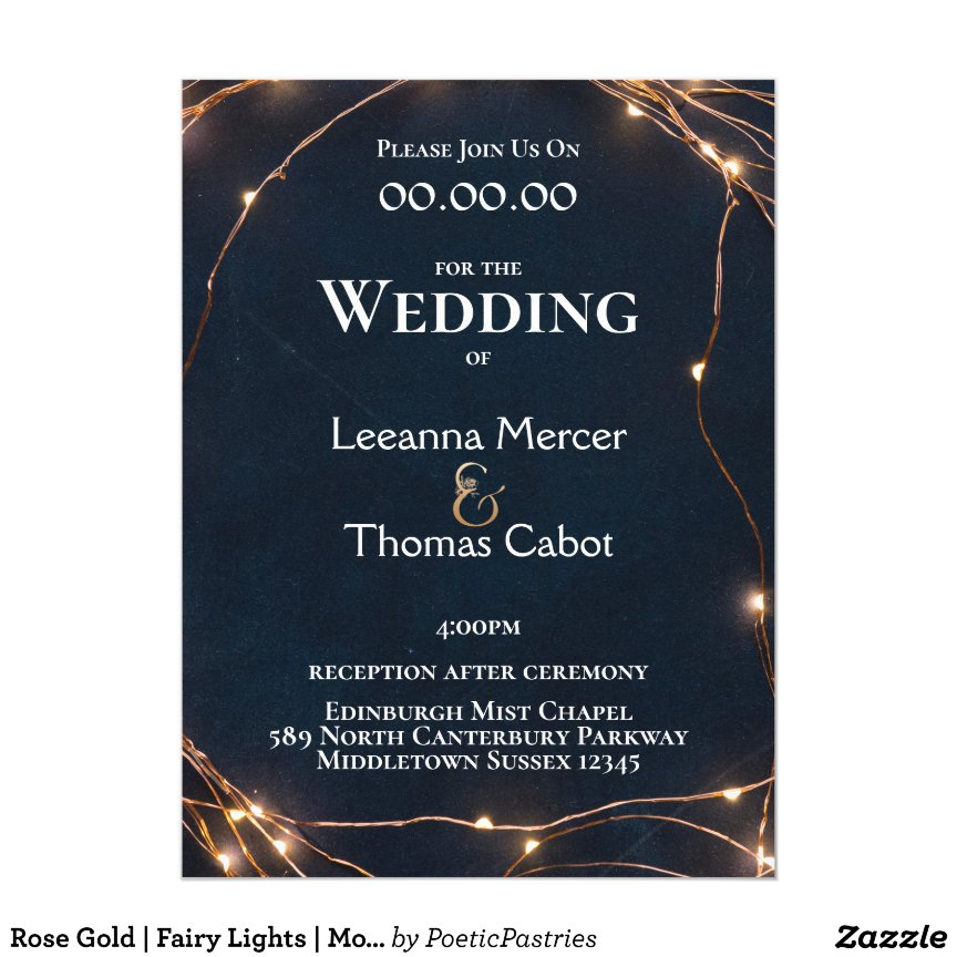 Rose Gold | Fairy Lights | Modern Wedding Invitation