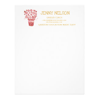 Rose Gold Fantasy Flower Container Letterhead