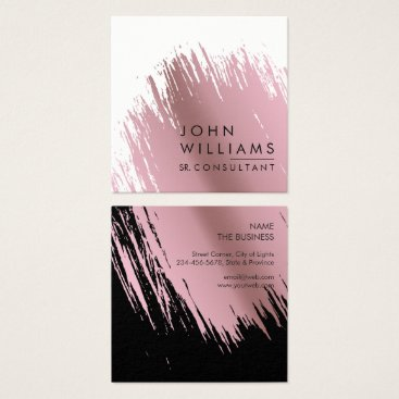Professional Business Rose Gold Faux Brushed Strokes Professional modern Square Business Card