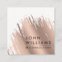 Rose Gold Faux Brushed Strokes Professional modern Square Business Card