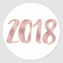 Rose gold faux foil 2018 stickers, round, small classic round sticker