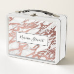 """Rose Gold Faux Foil and White Marble Pattern Metal Lunch Box<br><div class=""""desc"""">Decorate your home with this fashionable design which features a modern, girly, and chic faux printed rose gold and white marble pattern, print that will enhance your decor with a personalized and custom feel. This unique and trendy design will add your home&#39;s attitude and style. You can also gift this...</div>"""