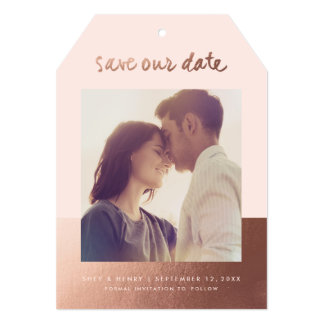Rose gold faux foil save the date announcement