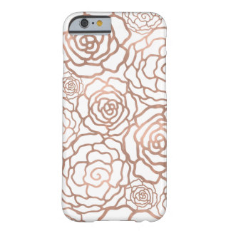 Rose Gold Faux Foil | White Floral Lattice Barely There iPhone 6 Case