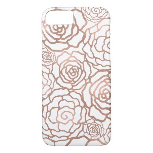 Rose Gold Faux Foil | White Floral Lattice Phone Case