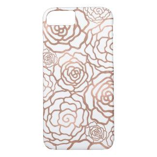 Rose Gold Faux Foil | White Floral Lattice iPhone 7 Case