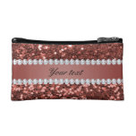 Rose Gold Faux Glitter and Diamonds Personalized Makeup Bag