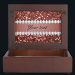 "Rose Gold Faux Glitter and Diamonds Personalized Memory Box<br><div class=""desc"">Glamorous personalized dark rose gold faux glitter sequins and diamonds. PLEASE NOTE: These are flat printed graphics - no real glitter, jewels or raised parts. Click on the Customize it / Personalize it button to personalize with your text. If you need any assistance customizing your product please contact me through...</div>"