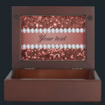 """Rose Gold Faux Glitter and Diamonds Personalized Memory Box<br><div class=""""desc"""">Glamorous personalized dark rose gold faux glitter sequins and diamonds. PLEASE NOTE: These are flat printed graphics - no real glitter, jewels or raised parts. Click on the Customize it / Personalize it button to personalize with your text. If you need any assistance customizing your product please contact me through...</div>"""