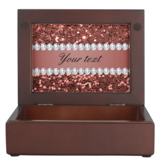 Rose Gold Faux Glitter and Diamonds Personalized Memory Box