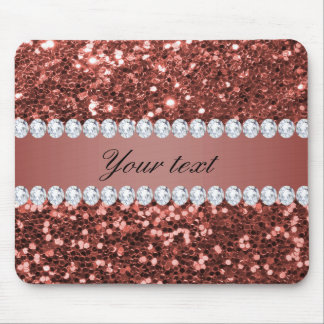 Rose Gold Faux Glitter and Diamonds Personalized Mouse Pad