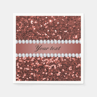 Rose Gold Faux Glitter and Diamonds Personalized Napkin