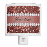 Rose Gold Faux Glitter and Diamonds Personalized Night Light