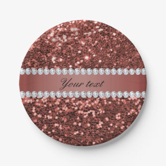 Rose Gold Faux Glitter and Diamonds Personalized Paper Plate