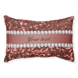 Rose Gold Faux Glitter and Diamonds Personalized Pet Bed