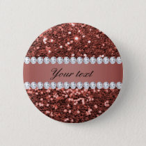 Rose Gold Faux Glitter and Diamonds Personalized Pinback Button