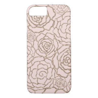 Rose Gold Faux Glitter | Blush Pink Floral Lattice iPhone 7 Case