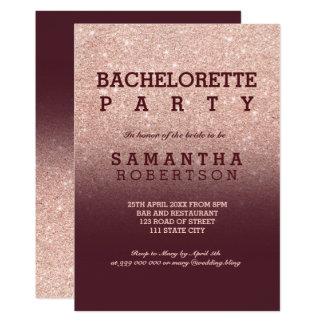 Rose gold faux glitter burgundy bachelorette party invitation