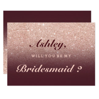 Rose gold faux glitter burgundy be my bridesmaid invitation