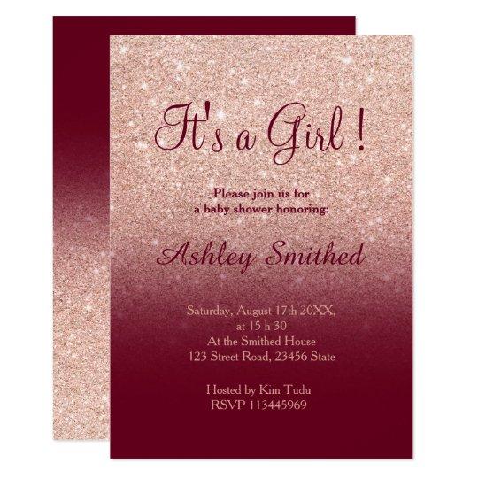 Rose gold faux glitter burgundy girl baby shower ...