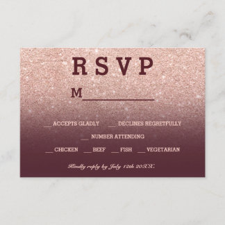 Rose gold faux glitter burgundy ombre RSVP wedding