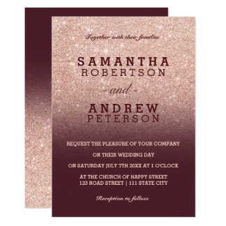 Rose gold faux glitter burgundy ombre wedding card