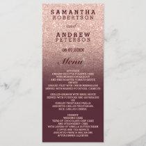 Rose gold faux glitter burgundy ombre wedding menu