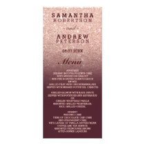 Rose gold faux glitter burgundy ombre wedding menu