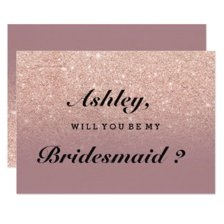 Rose gold faux glitter dusty rose be my bridesmaid card