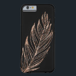 "Rose Gold Faux Glitter Feather Barely There iPhone 6 Case<br><div class=""desc"">Sleek,  shiny iPhone case features a glittering,  delicate rose gold feather on a black background. PLEASE NOTE: glitter is a digital image,  not actual glitter.</div>"