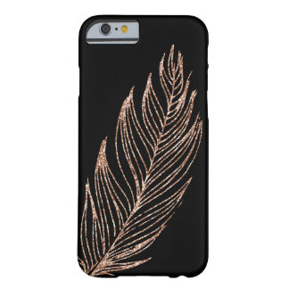 Rose Gold Faux Glitter Feather Barely There iPhone 6 Case