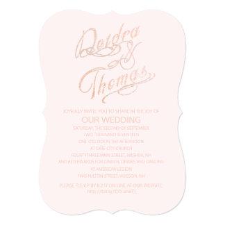 Rose Gold Faux Glitter Gem Invitations
