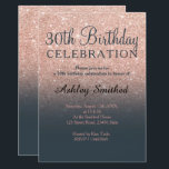 """Rose gold faux glitter grey ombre 30th birthday invitation<br><div class=""""desc"""">A modern,  original and simple faux rose gold glitter ombre 30th birthday invitation on a fully customizable charcoal grey color background. Thirtieth!</div>"""